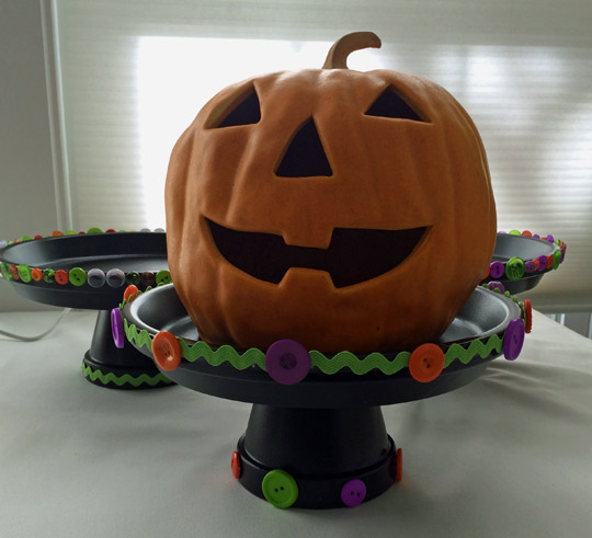 Halloween treat tray jack-o-lantern stands