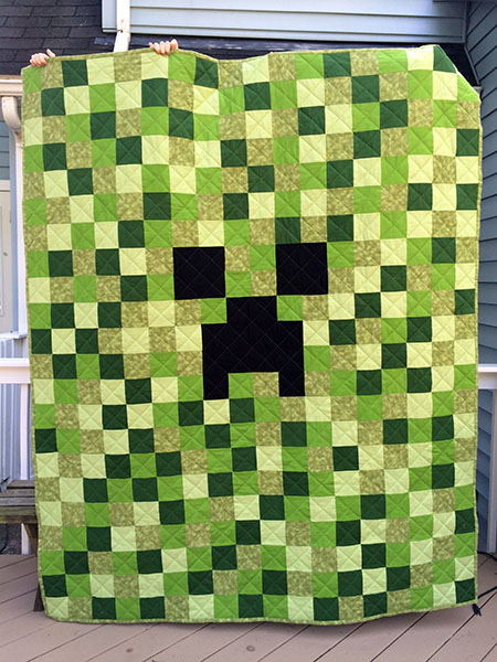 Finished Project: Minecraft Creeper Quilt | Clever Little Mouse : minecraft creeper quilt pattern - Adamdwight.com