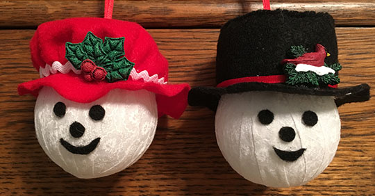 Fabric Ball Snowman Ornaments