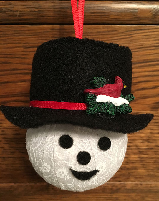 Fabric ball snowman ornament 2