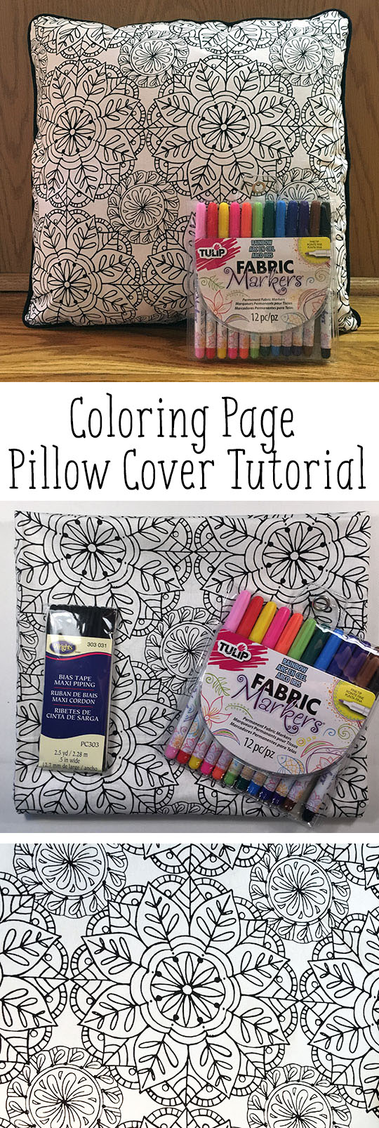 Coloring page pillow cover tutorial | Clever Little Mouse