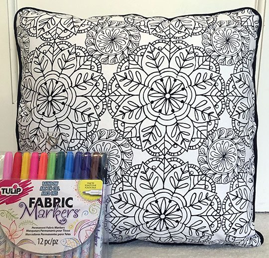 Finished coloring page pillow cover wh