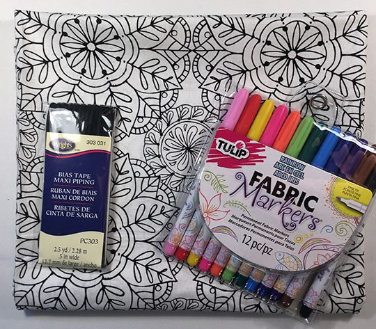 Supplies for DIY coloring page pillow